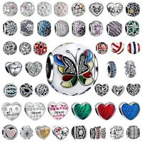 Love Heart Silver 925 Charms Bead Fit European Sterling Bracelets Necklace Chain