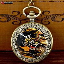 Antique New Dragon Pendant Necklace Quartz Pocket Gift Watch Vintage Steampunk A