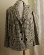 Talbots -Sz 22W Exquisite Rich Plaid Check Equestrian Blazer Jacket Wool Viscose