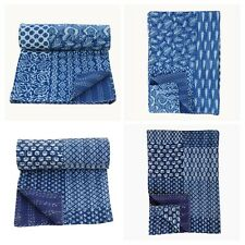 Handmade Patchwork Kantha Indigo Embroidery King Blanket Throw Bedspread 90x108""