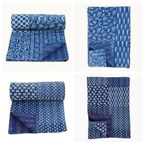 "Handmade Patchwork Kantha Indigo Embroidery King Blanket Throw Bedspread 90x108"""