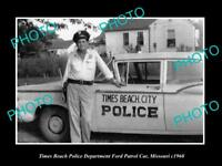 OLD LARGE HISTORIC PHOTO OF TIMES BEACH MISSOURI THE POLICE FORD PATROL CAR 1960