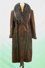 Traumhafter Damen Wild-Leder-Mantel Gr 48/XXL braun echt Leder tailliert vintage