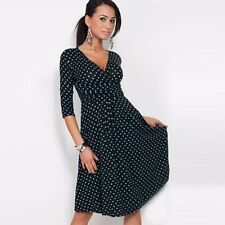 UK Classic Elegant Women Dresses V-Neck Cocktail Jersey Office Dress Size 8-18