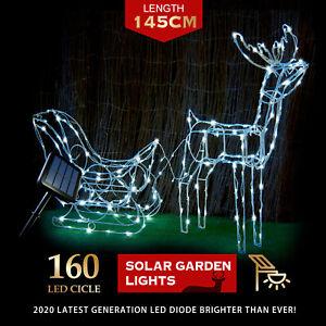 Christmas Lights Solar LED Reindeer Sleigh Sculpture Set Cool White Outdoor