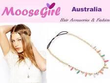 Boho Rainbow Beads Shiny gems Gold Chain Elastic Headband Hair Band Hair Jewelry