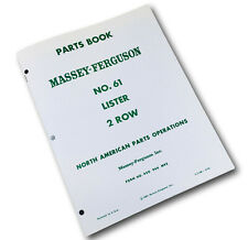 Massey Ferguson No 61 Lister 2 Row Planter Parts Manual Catalog Book Schematic