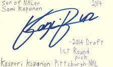 Kasperi Kapanen Pittsburgh Nhl Hockey Autographed Signed Index Card