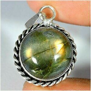 Natural Labradorite Cabochon Silver Plated Pendant Jewelry Gemstone A37-69 D660