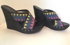 Diane von Furstenberg Wedge Sandal Slide Size 8 M Black Wooden Platform Strappy