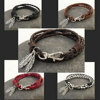 Men Women Fashion Leather Wrap Braided Wristband Cuff Punk Bracelet Bangle