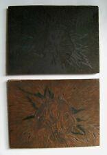 Original Linocut Linoleum Printing Plates On Block - Native American Portrait
