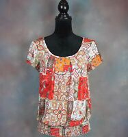 AGB Women's Blouse Size M Orange & Red Paisley Print Elastic Waistband USA Made