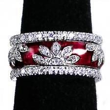 3-RING SET_CHERRY-RED ENAMEL FLORAL CZ BAND RINGS_SZ-9_925 STERLING SILVER