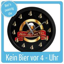 Wanduhr für Bierfans + Männer Party Geschenk Partydeko Kein Bier vor Vier ! NEU