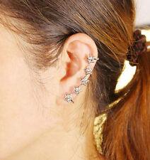 Women Silver Wrap Cuff Clip  Earring Rhinestone Crystal Shiny starts Ear Ring