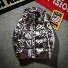 Silver Bright Jacket Coat Man Winter Warm Thick Down Cotton Padded Bread  Parkas
