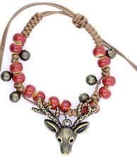 cute bronze coloured deer bracelet, adjustable, red colured beads