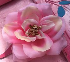 BEAUTIFUL LARGE PINK ROSE Skull Pinup ROCKABILLY HAIR FLOWER CLIP