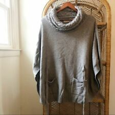 Laurie B Cashmere Grey Poncho Cashmere Blend Sweater Women's Size M