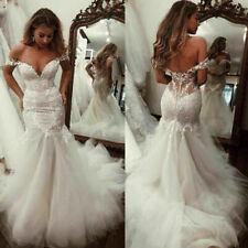 Sexy Wedding Dresses Deep V-Neck Tulle Mermaid Bridal Long Gown Off The Shoulder