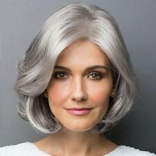 Ladies Short Bob Straight Wavy Synthetic Hair Wig Silver White Side Part Wigs