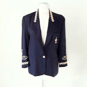 80s Vintage Blazer Oversized Navy Blue Gold Trim Crest Military Marching Band