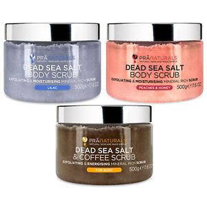 PraNaturals Dead Sea Salt Body Scrub 500g w/ Natural Oils & Minerals No parabens