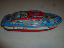 VINTAGE TIN TOY LITHO BOAT SHIP MISSILES M-205 WIND UP MILITARY JAPAN METAL