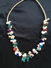 "Fetish Horse Necklace Southwest Zuni Style Multi-Color 32"" Squaw Wrapped"