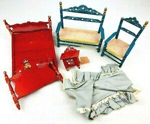 Vintage 1960's Spanish Wood Doll Furniture Bed Bench Chairs Folk Art - DAMAGED