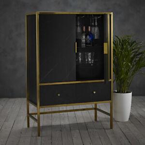 Monaco Drinks Cabinet - 2 Door 2 Drawer - Stylish Gold & Black Marble Effect