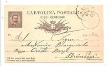 FASANO ( BR )  -  Intero Postale viaggiato 1889......mittente Ignazio Gali.....?