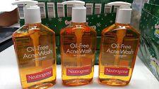 Neutrogena Oil-Free Acne Wash 9.1 oz Pump Salicylic acid acne treatment lot of 3
