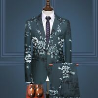 3 Piece Men Blue Gray Floral Paisley Suit Prom Dinner Party Wedding Suit Custom