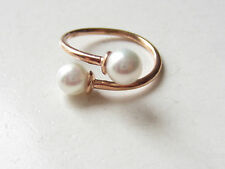 Turkish Rose Gold Plated 925 Sterling Silver Pearl Ring Size 7 Adjustable to 6-8