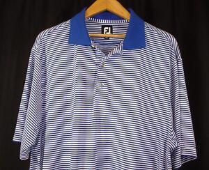 FootJoy Mens Short Sleeve Blue White Stripe Polo Golf Shirt XL