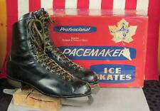 Vintage Pacemaker Black Leather Mens Ice Skates with Original Box Size 9.5 Nice!