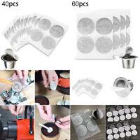 40/60x Self Adhesive Aluminum Lids Foil Film For Nespresso Coffee Capsule Filter