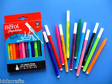 Berol Fabric Pens 2mm Nibs Pack 12 Fabric Painting