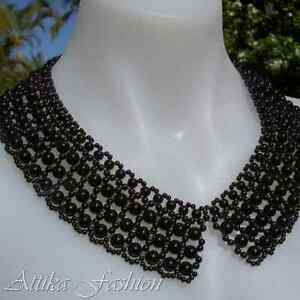 Latest Trend --- Gorgeous Designer Black Pearl NECKLACE COLLAR Party