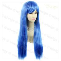 Fabulous Long Straight Skin Top Blue Ladies Wig Heat Resistant Cosplay WIWIGS UK