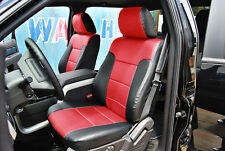 FORD F-150 2009-2014 BLACK/RED IGGEE S.LEATHER CUSTOM FIT FRONT SEAT COVER