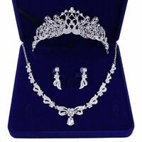 Wedding Jewelry Set Earrings Rhinestone Pendants Bridal Necklace Fashion Crystal