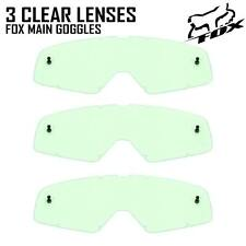 FOX MAIN MOTOCROSS GOGGLE REPLACEMENT GS CLEAR LENSES X 3 tear off mx enduro new