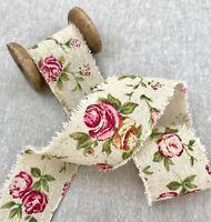 """Rose Burlap Ribbon - 2"""" Vintage Wedding Burlap - Natural Burlap Ribbon - Floral"""