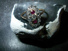 Antiker- hochwertiger-Diamant-Rubin-Ring-585 /14Kt-Rose-Gold-Platin-1910-1920