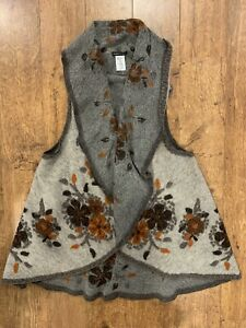 MADE IN ITALY Womens Gray Fall Floral Wool Blend Cape Poncho ONE SIZE