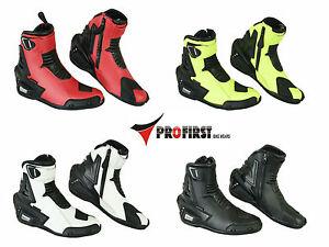 ProFirst Wasserdichte Motorrad Schuhe Stiefel Echtes Leder Motorradschuhe 39-48