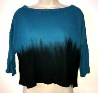 Sparkle and Fade Ombre Top Women's Summer Top Size XS Short Sleeve - Dark Blue